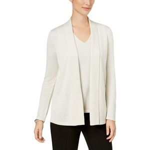 Kasper Womens Open Front Knit Cardigan Sweater Top